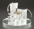 A LINO SABATTINI STAIRS PATTERN FIVE-PIECE SILVER PLATE TEA AND COFFEE SERVICE L