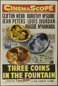 """Three Coins in the Fountain (20th Century Fox, 1954). One Sheet (27"""" X 41""""). Romantic Adventure. Directed by J..."""