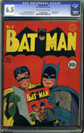 Golden Age (1938-1955):Superhero, Batman #8 (DC, 1942) CGC FN+ 6.5 Off-white to white pages. Everyone loves this issue, including Batman and Robin themselves ...