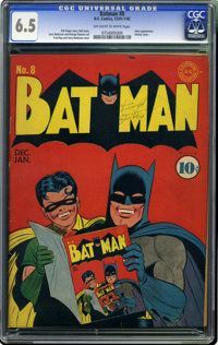Batman #8 (DC, 1942) CGC FN+ 6.5 Off-white to white pages. Everyone loves this issue, including Batman and Robin themsel...