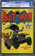 Golden Age (1938-1955):Superhero, Batman #12 (DC, 1942) CGC VF 8.0 Off-white to white pages. This is the first time we've seen a copy of #12 with this combina...