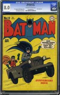 Batman #12 (DC, 1942) CGC VF 8.0 Off-white to white pages. This is the first time we've seen a copy of #12 with this com...