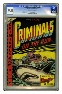"Criminals on the Run V4#4 Mile High pedigree (Curtis, 1948) CGC VF/NM 9.0 Off-white to white pages. ""Oh, the shark..."