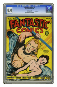 Fantastic Comics #9 (Fox, 1940) CGC VF 8.0 Off-white pages. When Samson's having a good hair day, there's no stopping hi...