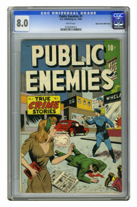 Public Enemies #1 Mile High pedigree (D.S. Publishing, 1948) CGC VF 8.0 White pages. Overstreet 2006 VF 8.0 value = $148...