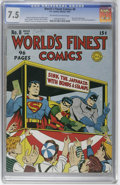 "Golden Age (1938-1955):Superhero, World's Finest Comics #8 (DC, 1942) CGC VF- 7.5 Off-white to white pages. A morale-boosting ""buy war bonds"" cover by Jack Bu..."