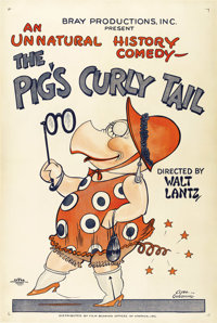 "The Pig's Curly Tail (Bray, 1926). One Sheet (27"" X 41""). Created for one of Walter Lantz' early silent ""..."