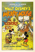 "Movie Posters:Animated, The Klondike Kid (United Artists, 1932). One Sheet (27"" X 41""). Great image of Mickey and Minnie Mouse with a menacing Peg L..."