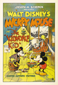 "The Klondike Kid (United Artists, 1932). One Sheet (27"" X 41""). Great image of Mickey and Minnie Mouse with a..."