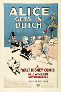 """Alice Gets in Dutch (Winkler, 1924). One Sheet (27"""" X 41""""). One of the rarest of the early Walt Disney """"A..."""