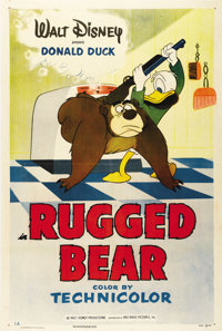"Rugged Bear (RKO, 1953). One Sheet (27"" X 41""). Humphrey the Bear decides to hide out at Donald's house during..."