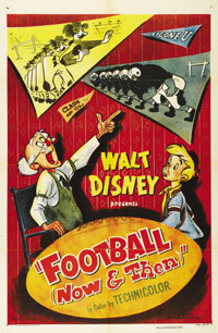 "Football Now and Then (RKO, 1953). One Sheet (27"" X 41""). In this Walt Disney cartoon short subject, a grandfa..."