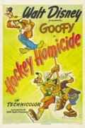 "Movie Posters:Animated, Hockey Homicide (RKO, 1945). One Sheet (27"" X 41""). This is a very rare one sheet to one of the Disney's animated shorts tha..."