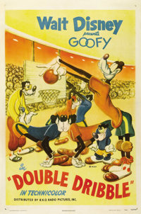 """Double Dribble (RKO, 1946). One Sheet (27"""" X 41""""). In another of Goofy's sports cartoons, he goes to an away g..."""