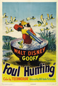 "Movie Posters:Animated, Foul Hunting (RKO, 1947). One Sheet (27"" X 41""). Goofy is a duckhunter in one of his classic Disney sports cartoons. This o..."