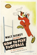 "Movie Posters:Animated, How to Play Football (RKO, 1944). One Sheet (27"" X 41""). Goofy onceagain gives us instruction on the finer points of a spor..."