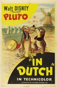 """In Dutch (RKO, 1946). One Sheet (27"""" X 41""""). In his rounds as a milk delivery dog in Holland, Pluto falls for..."""