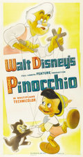 "Movie Posters:Animated, Pinocchio (RKO, 1940). Three Sheet (41"" X 81"") Style A. In the late1930s, Walt Disney tried to maneuver his animation studi..."