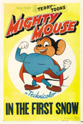 "Movie Posters:Animated, Mighty Mouse Stock Poster (20th Century Fox, 1943). One Sheet (27"" X 41""). Great image of the Mouse of Might on this Terry-T..."