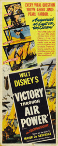 "Movie Posters:War, Victory Through Air Power (United Artists, 1943). Insert (14"" X36""). The film that persuaded FDR to pursue strategic bombin..."