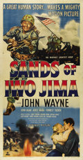 "Movie Posters:War, Sands of Iwo Jima (Republic, 1950). Three Sheet (41"" X 81""). JohnWayne stars as Sergeant John Stryker in this patriotic war..."