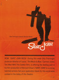 "Movie Posters:Drama, Saint Joan (United Artists, 1957). Poster (29.5"" X 40""). Saul Bass(1920-1996) was not only one of the great graphic designe..."