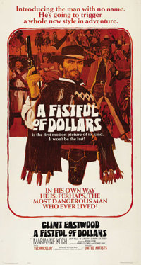 "A Fistful of Dollars (United Artists, 1964). Three Sheet (41"" X 81""). Sergio Leone's film was inspired by Akir..."