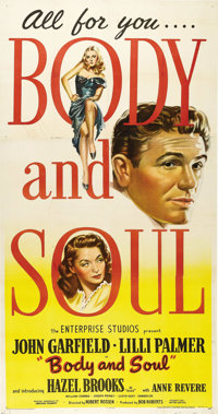 "Body and Soul (United Artists, 1947). Three Sheet (41"" X 81""). Film Noir"