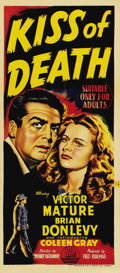 "Movie Posters:Film Noir, Kiss of Death (20th Century Fox, 1947). Australian Daybill (13"" X30""). Victor Mature is a crook who gets caught up trying t..."