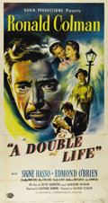 """Movie Posters:Film Noir, A Double Life (Universal International, 1947). Three Sheet (41"""" X81""""). Fantastic graphics for this story of a Shakespearean..."""