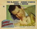 """Movie Posters:Film Noir, Double Indemnity (Paramount, 1944). Lobby Card (11"""" X 14"""").Beautiful portrait card of Fred MacMurray and Barbara Stanwyck f..."""