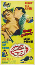 """Movie Posters:Film Noir, Kiss Me Deadly (United Artists, 1955). Three Sheet (41"""" X 81"""").Blood Red Kisses! White Hot Thrills! Mickey Spillane's lates..."""