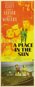 "Movie Posters:Film Noir, A Place In The Sun (Paramount, 1951). Insert (14"" X 36""). GeorgeStevens directs Montgomery Clift, Elizabeth Taylor and Shel..."