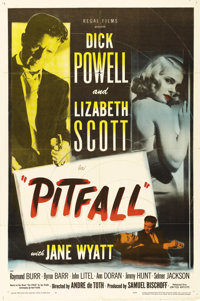 "Pitfall (United Artists, 1948). One Sheet (27"" X 41""). Insurance executive Dick Powell has a good life -- a gr..."