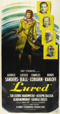 """Movie Posters:Mystery, Lured (United Artists, 1947). Three Sheet (41"""" X 81""""). Lucille Ball looks gorgeous with a gun on this fantastic film noir th..."""