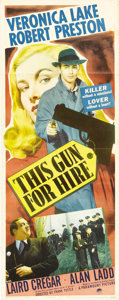 "Movie Posters:Film Noir, This Gun For Hire (Paramount, 1942). Insert (14"" X 36""). One of thetop classic film noirs of the 1940's, this film made Ala..."