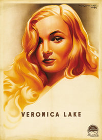 "Veronica Lake (Paramount, 1944). French Poster (22.5"" X 31""). Veronica Lake allowed her blonde hair to obscure..."
