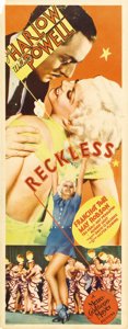 "Movie Posters:Drama, Reckless (MGM, 1935). Insert (14"" X 36""). Although her career wascut tragically short, Jean Harlow remains one of the great..."