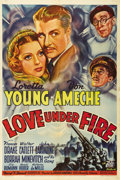 """Movie Posters:Drama, Love Under Fire (Twentieth Century Fox, 1937). One Sheet (27"""" X41""""). George Marshall directs Loretta Young, Don Ameche, Fra..."""