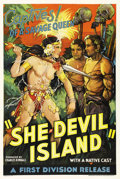 "Movie Posters:Adventure, She-Devil Island (First Division Pictures Inc, 1936). One Sheet(27"" X 41""). A remote island, populated entirely by gorgeous..."