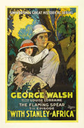 "Movie Posters:Adventure, With Stanley In Africa (Universal, 1922). One Sheet (27"" X 41"").Beautiful stone litho artwork of George Walsh and Louise Lo..."