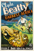 "Movie Posters:Serial, Darkest Africa (Republic, 1936). One Sheet (27"" X 41""). Chapter 1:""Baru - Son of the Jungle"". Gorgeous artwork for the firs..."