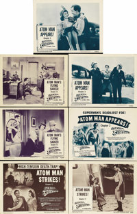 "Atom Man vs. Superman (Columbia, 1950). Title Lobby Cards (2) and Lobby Cards (5) (11"" X 14""). Kirk Alyn was t..."