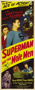 "Movie Posters:Action, Superman and the Mole Men (Lippert, 1951). Insert (14"" X 36""). Somegreat shots of George Reeves, who was Superman for milli..."