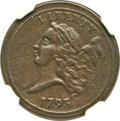 Half Cents, 1793 1/2 C -- Improperly Cleaned -- NGC Details. XF. C-2, B-2,R.3....