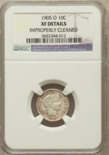 Barber Dimes: , 1905-O 10C -- Improperly Cleaned -- NGC Details. XF. NGC Census:(3/150). PCGS Population (8/160). Mintage: 3,400,000. ...