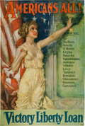 "Military & Patriotic:WWI, Beautiful WWI Howard Chandler Christy ""Americans All!"" VictoryLiberty Loan Poster...."