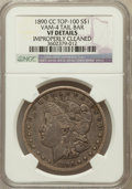 Morgan Dollars, 1890-CC $1 Tail Bar -- Improperly Cleaned -- NGC Details. VF.Vam-4, Top-100. PCGS Population (17/54...