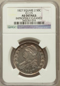 Bust Half Dollars: , 1827 50C Square Base 2 -- Improperly Cleaned -- NGC Details. AU.O-115. NGC Census: (128/1495). PCGS Population (192/10...