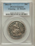 Seated Half Dollars, 1861-O 50C -- Cleaning -- PCGS Genuine. AU Details. NGC Census:(17/188). PCGS Population (19/189). Mintage: 2,532,633. Num...